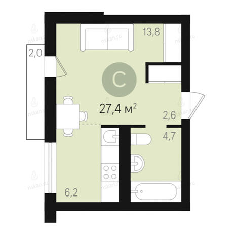 Вариант №2681, 1-комнатная квартира в жилом комплексе