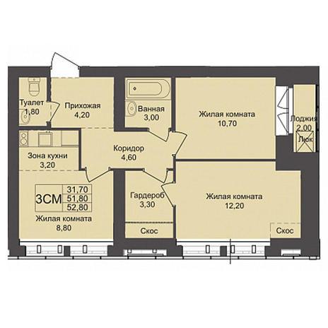 Вариант №3790, 3-комнатная квартира в жилом комплексе Северная корона