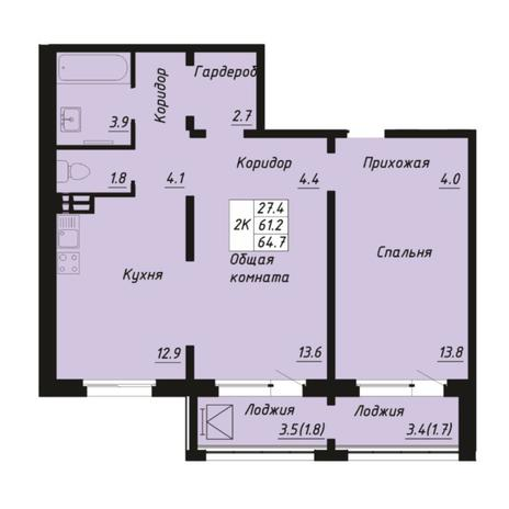 Вариант №5271, 2-комнатная квартира в жилом комплексе