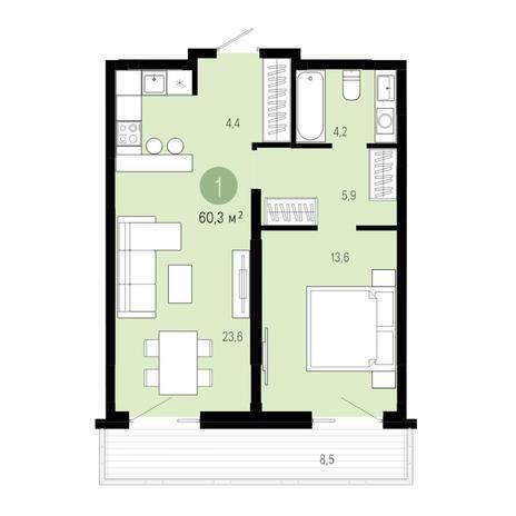 Вариант №4833, 2-комнатная квартира в жилом комплексе Европейский Берег