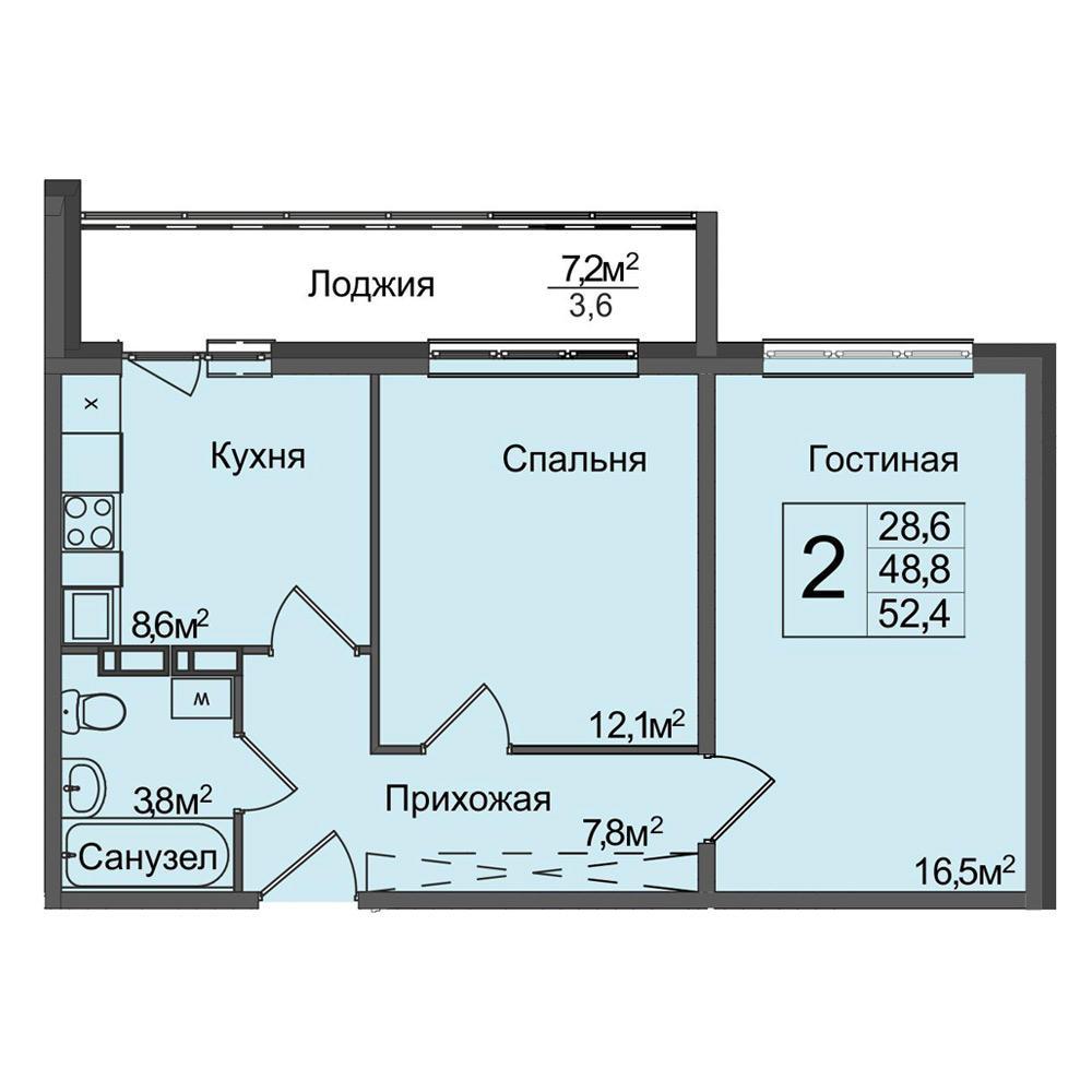 Планировка 2-комнатная площадью 54.2 м<sup>2</sup> в ЖК Венеция