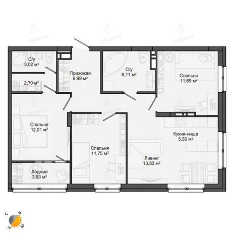 Вариант №2140, 4-комнатная квартира в жилом комплексе