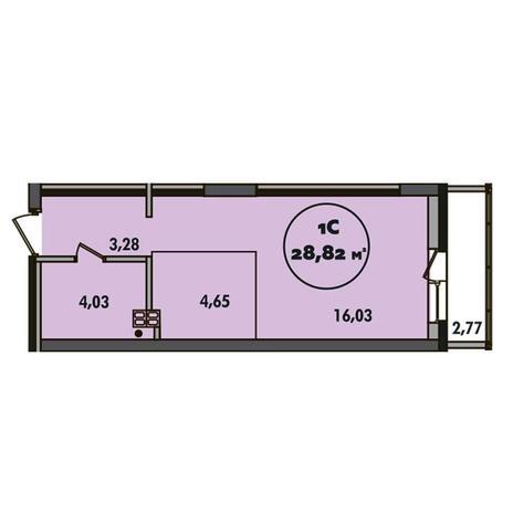 Вариант №5498, 1-комнатная квартира в жилом комплексе