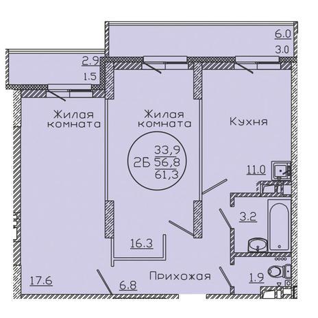 Вариант №3190, 2-комнатная квартира в жилом комплексе