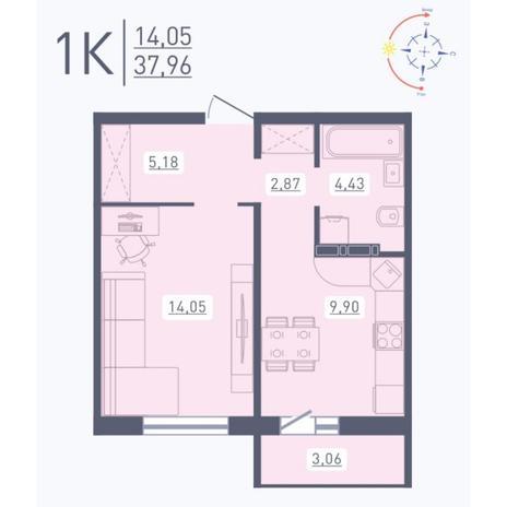 Вариант №5565, 1-комнатная квартира в жилом комплексе
