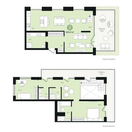 Вариант №6373, 4-комнатная квартира в жилом комплексе