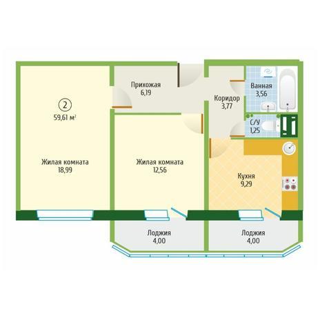 Вариант №6099, 2-комнатная квартира в жилом комплексе