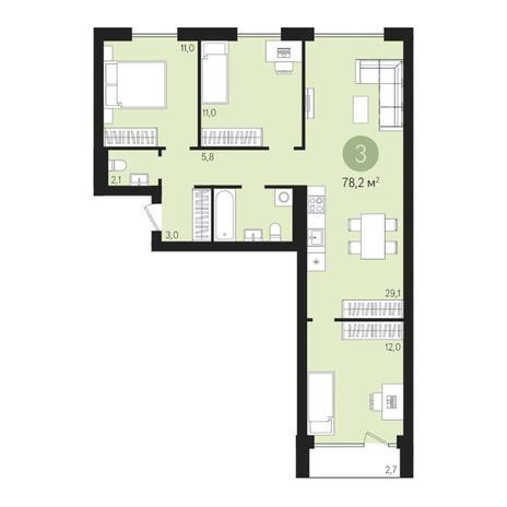 Вариант №3018, 4-комнатная квартира в жилом комплексе