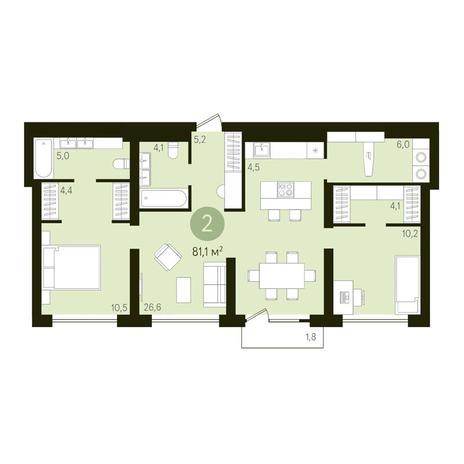 Вариант №3635, 3-комнатная квартира в жилом комплексе