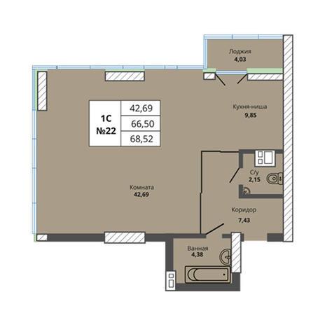 Вариант №2968, 3-комнатная квартира в жилом комплексе