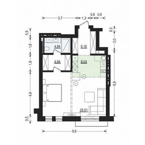Вариант №4898, 2-комнатная квартира в жилом комплексе Жуковка