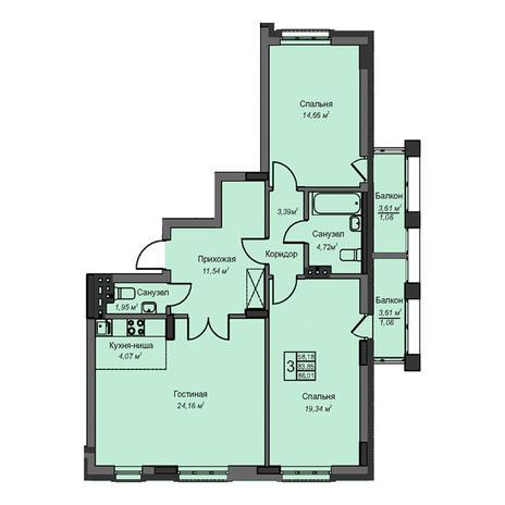 Вариант №3091, 3-комнатная квартира в жилом комплексе