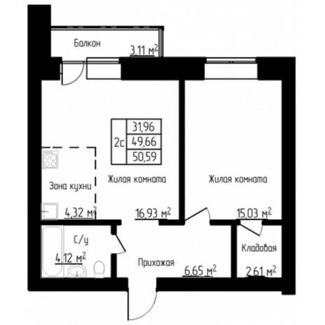 Вариант №4527, 2-комнатная квартира в жилом комплексе