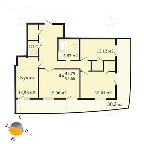 Вариант №1070, 3-комнатная квартира в жилом комплексе Грани