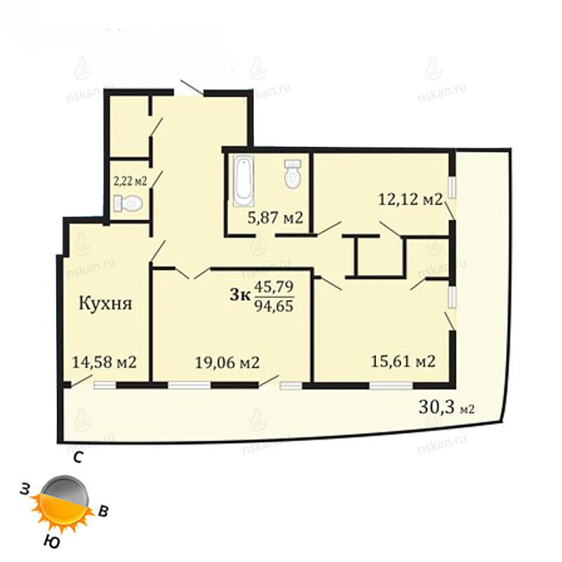 Планировка 3-комнатная площадью 94.65 м<sup>2</sup> в ЖК Грани