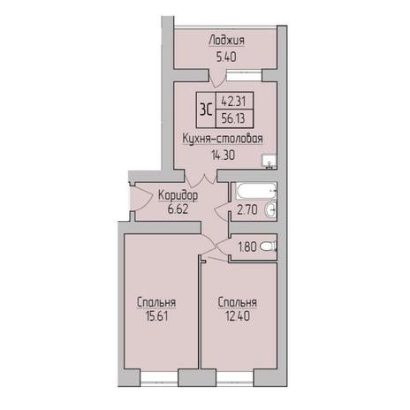 Вариант №5351, 3-комнатная квартира в жилом комплексе