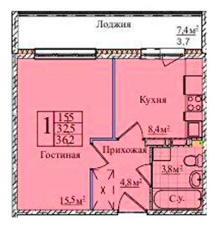 Вариант №5839, 1-комнатная квартира в жилом комплексе
