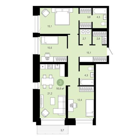 Вариант №4025, 4-комнатная квартира в жилом комплексе Европейский Берег