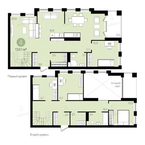 Вариант №2795, 4-комнатная квартира в жилом комплексе Пшеница