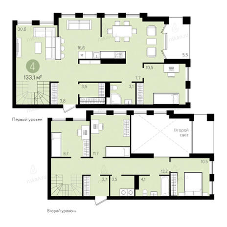Вариант №2795, 4-комнатная квартира в жилом комплексе