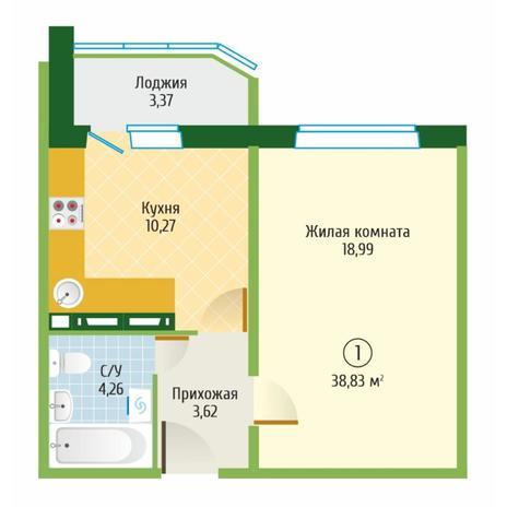 Вариант №6102, 1-комнатная квартира в жилом комплексе