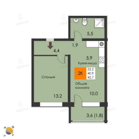Вариант №2304, 2-комнатная квартира в жилом комплексе