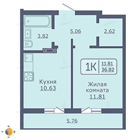 Вариант №2047, 1-комнатная квартира в жилом комплексе Радуга Сибири
