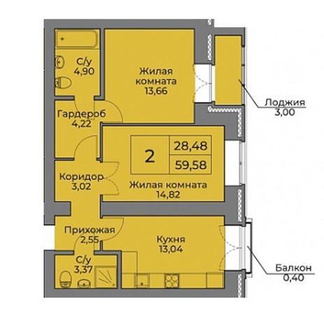 Вариант №3534, 2-комнатная квартира в жилом комплексе