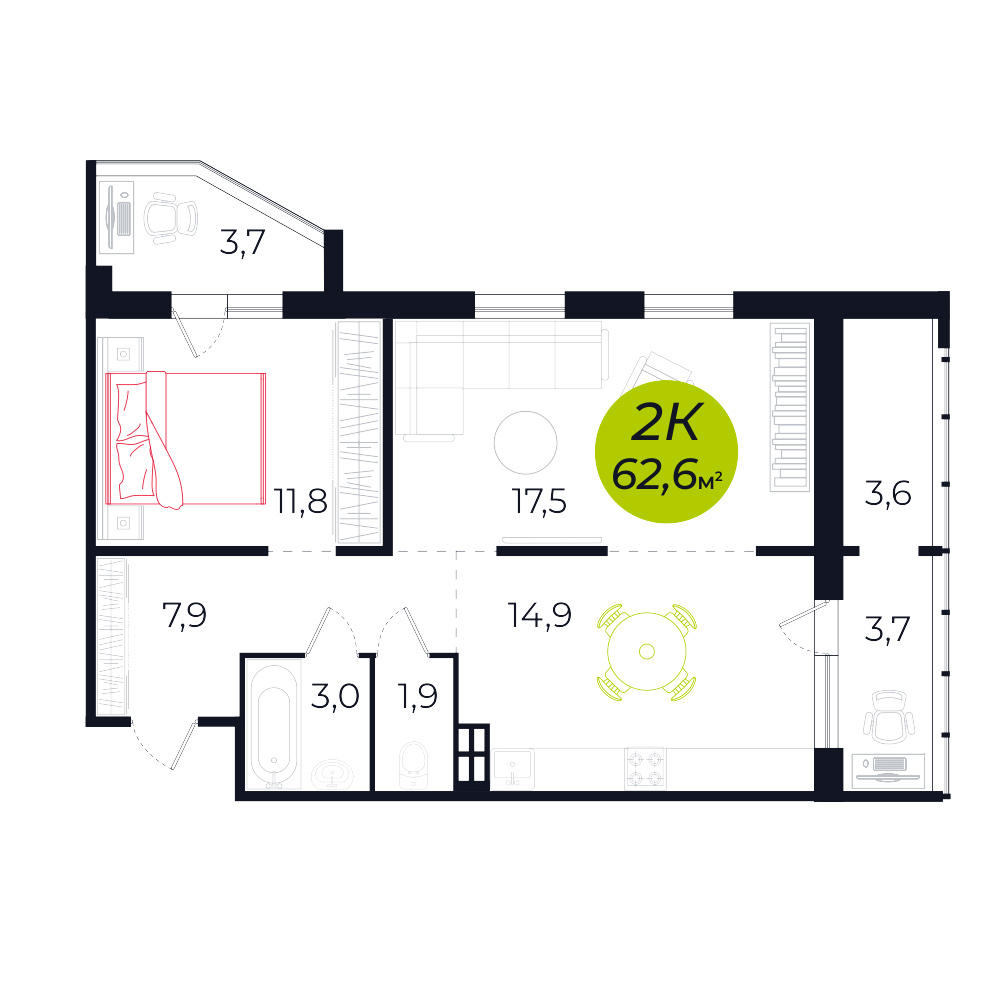 Планировка 2-комнатная площадью 62.6 м<sup>2</sup> в ЖК Весна