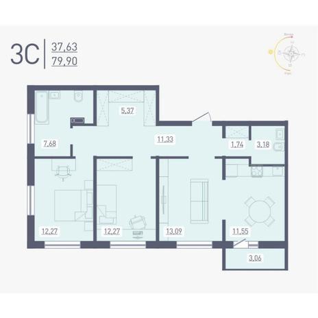Вариант №4882, 3-комнатная квартира в жилом комплексе Радуга Сибири