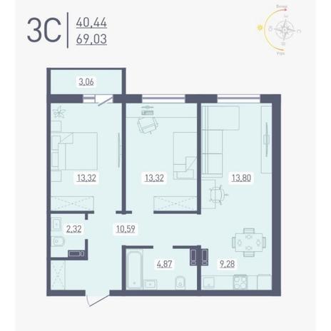 Вариант №4879, 3-комнатная квартира в жилом комплексе Радуга Сибири