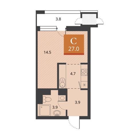 Вариант №5674, 1-комнатная квартира в жилом комплексе