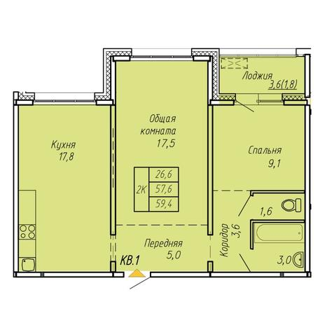 Вариант №6061, 2-комнатная квартира в жилом комплексе