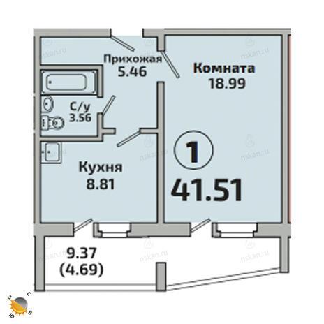 Вариант №2526, 1-комнатная квартира в жилом комплексе