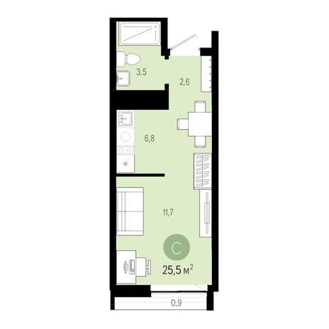 Вариант №6450, 1-комнатная квартира в жилом комплексе