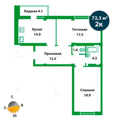Вариант №1499, 3-комнатная квартира в жилом комплексе Театральный