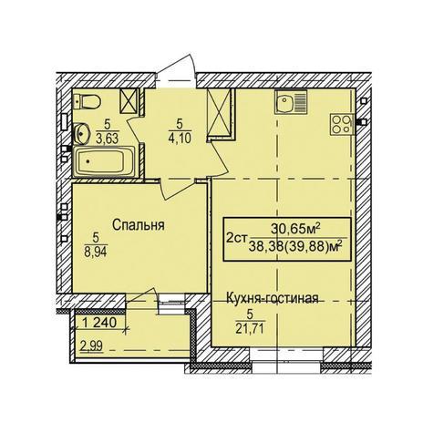 Вариант №3348, 2-комнатная квартира в жилом комплексе