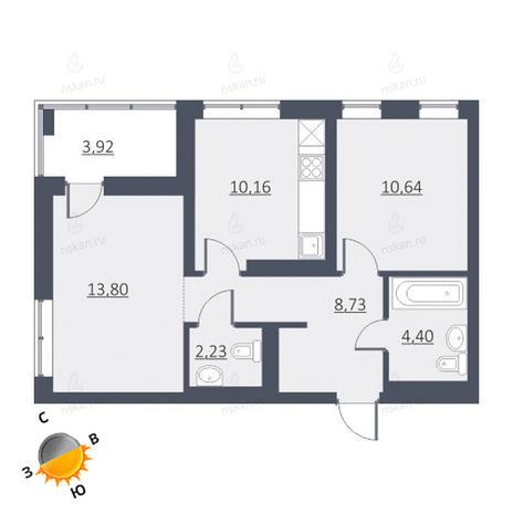 Вариант №1637, 2-комнатная квартира в жилом комплексе