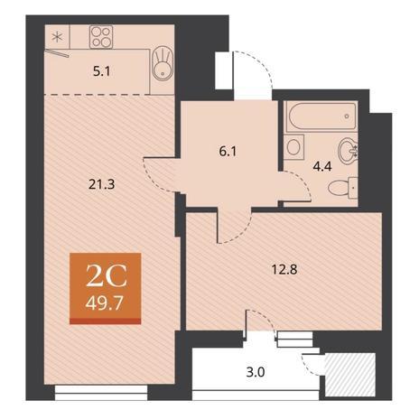Вариант №5671, 2-комнатная квартира в жилом комплексе