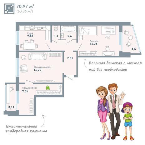 Вариант №3414, 2-комнатная квартира в жилом комплексе Чистая Слобода