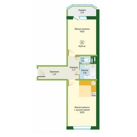 Вариант №6091, 2-комнатная квартира в жилом комплексе Цивилизация