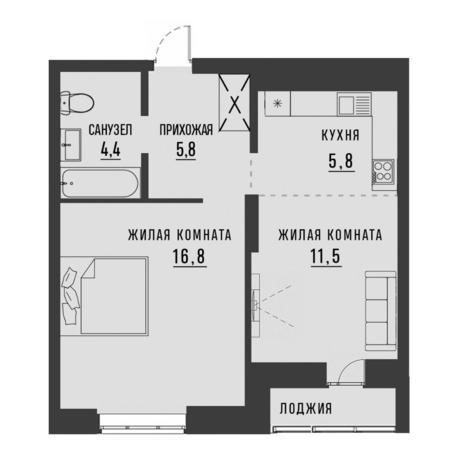 Вариант №4188, 2-комнатная квартира в жилом комплексе Академия