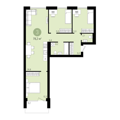Вариант №3017, 4-комнатная квартира в жилом комплексе