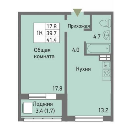 Вариант №3875, 1-комнатная квартира в жилом комплексе Акварельный 3.0
