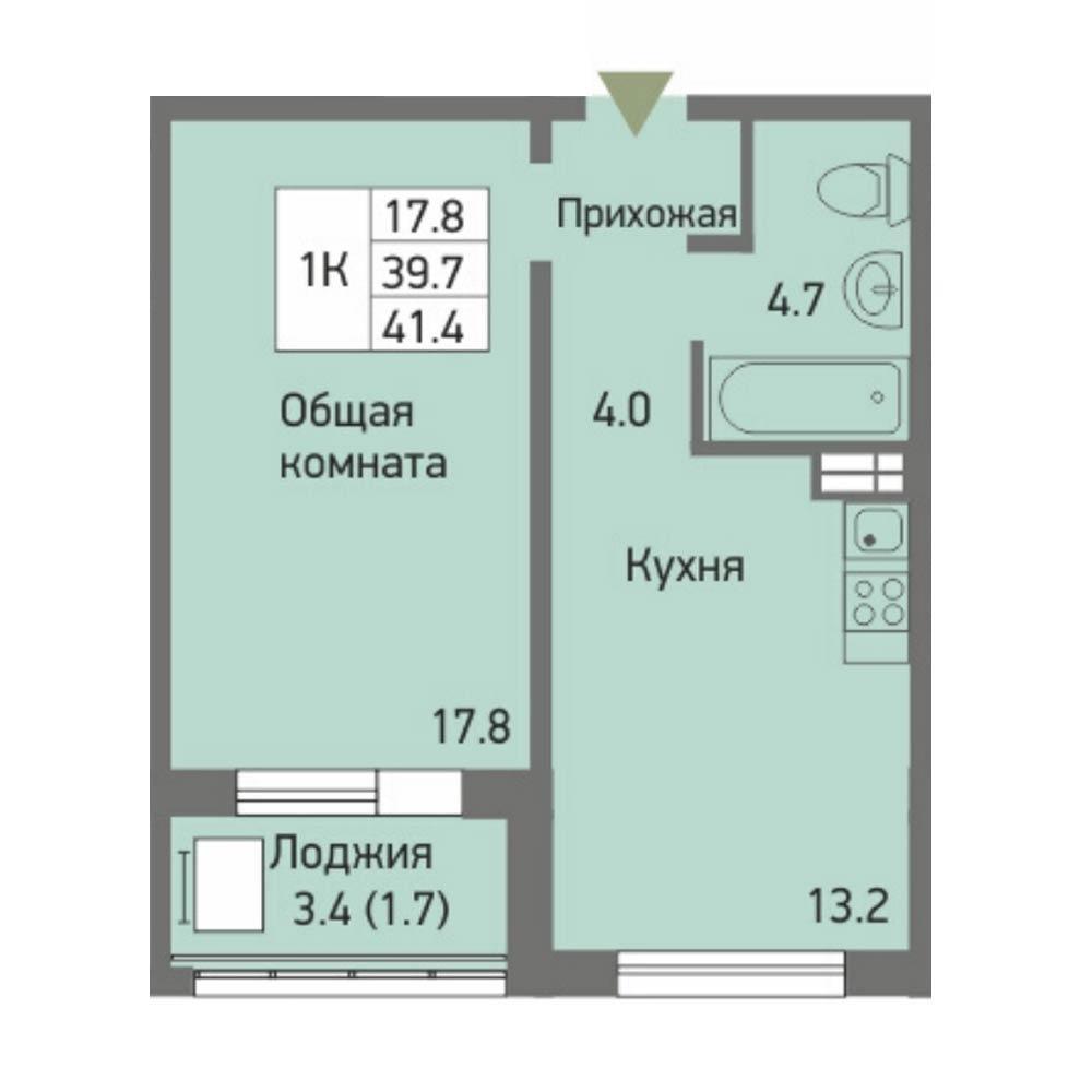 Планировка 1-комнатная площадью 41.4 м<sup>2</sup> в ЖК Акварельный 3.0
