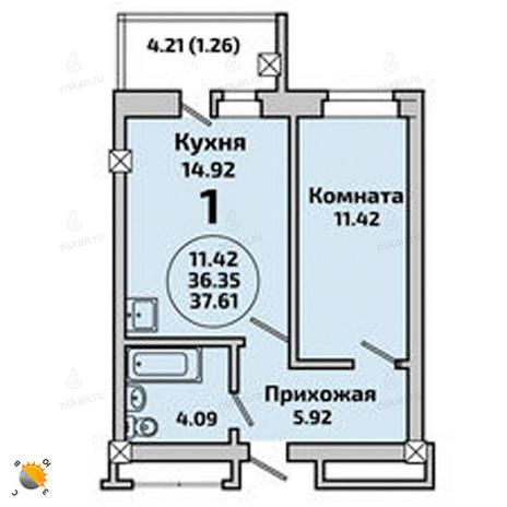 Вариант №1999, 2-комнатная квартира в жилом комплексе