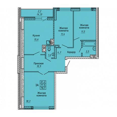 Вариант №5650, 3-комнатная квартира в жилом комплексе