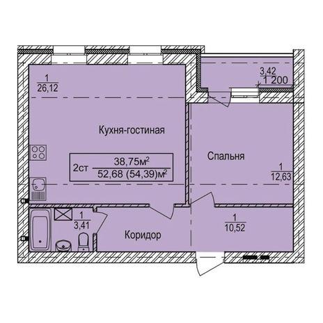 Вариант №3339, 2-комнатная квартира в жилом комплексе
