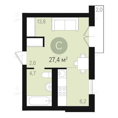 Вариант №2656, 1-комнатная квартира в жилом комплексе