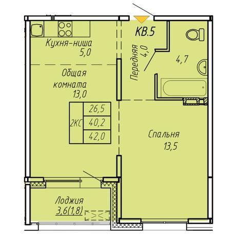 Вариант №6064, 2-комнатная квартира в жилом комплексе